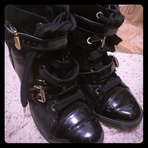 Black MK sneaker wedges